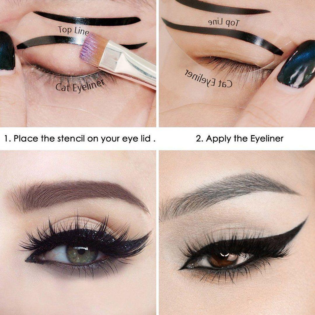 FOK Smokey Makeup Eyeliner Stencils Repeatable DIY Eye Makeup Card Template Tools Kit Eyelash Curler Pack of 2