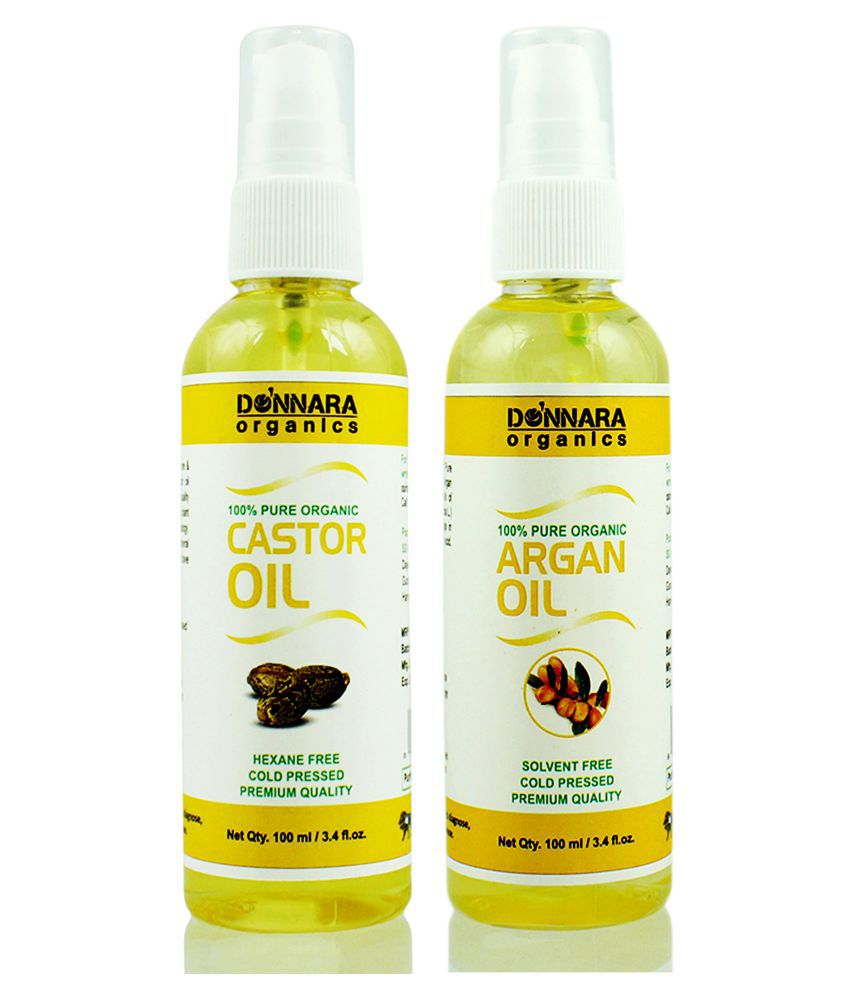 Donnara Organics 100% Pure Castor oil & Argan oil 200 ml Pack of 2