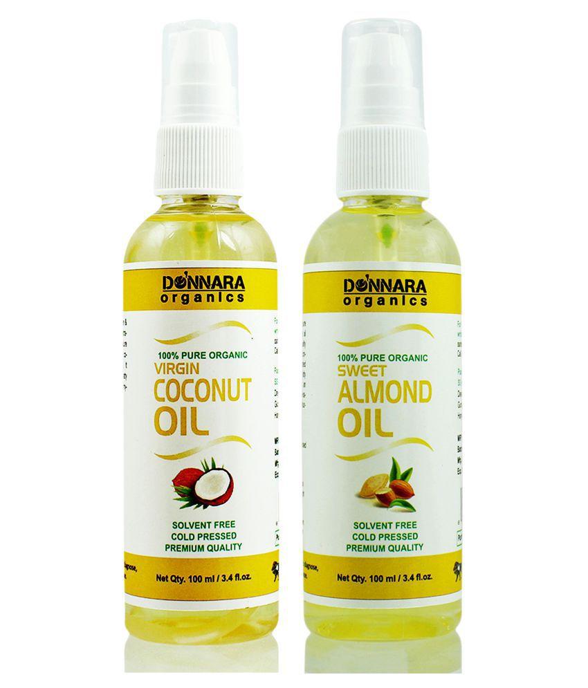 Donnara Organics 100% Pure Coconut oil & Almond oil 200 ml Pack of 2
