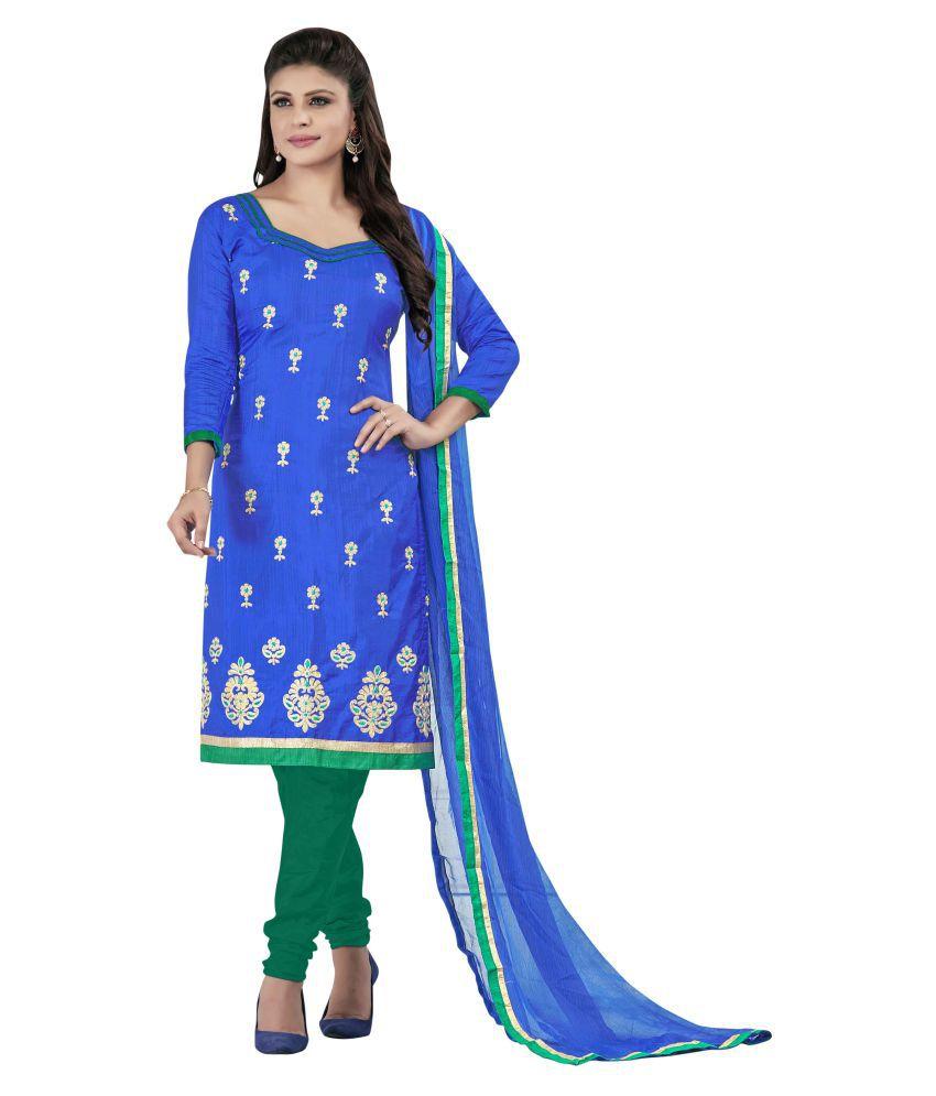 SAINOOR Blue Silk Dress Material