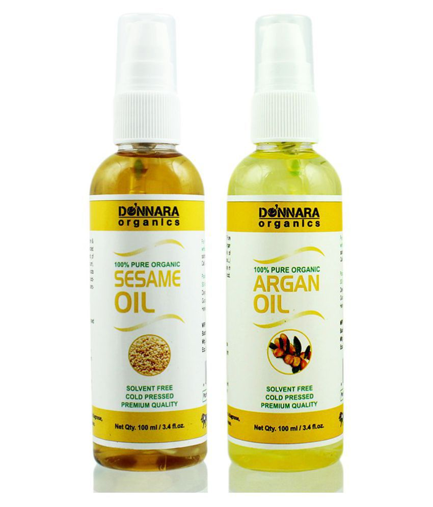 Donnara Organics 100% Pure Sesame oil & Argan oil 200 ml Pack of 2