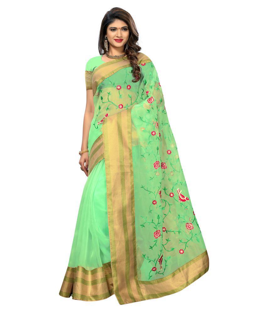 Ethnic Yard Green Net Saree