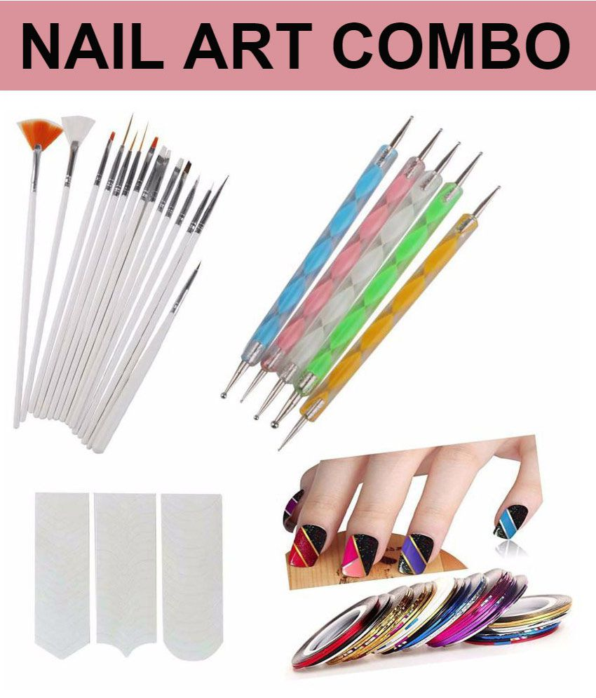 FOK Nail Art Kit Combo With Tip Guide Décor Accessories 31 no.s Combo