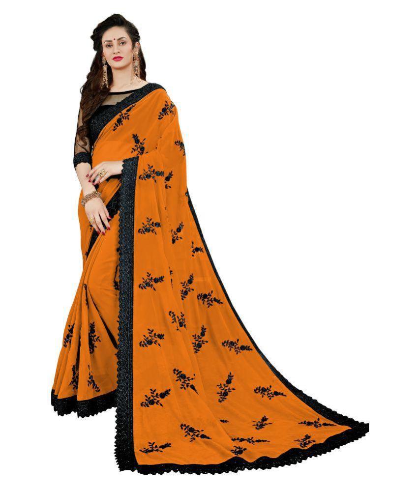 MANOHARI Orange Georgette Saree