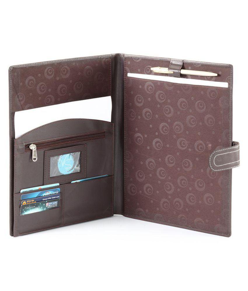 Hide & Sleek Artificial Leather Multi Pockets Conference Folder