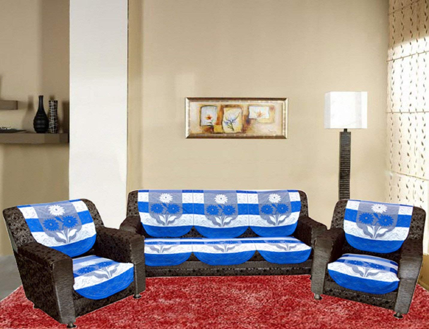 Home Stay 5 Seater Poly Cotton Set of 10 Sofa Cover Set