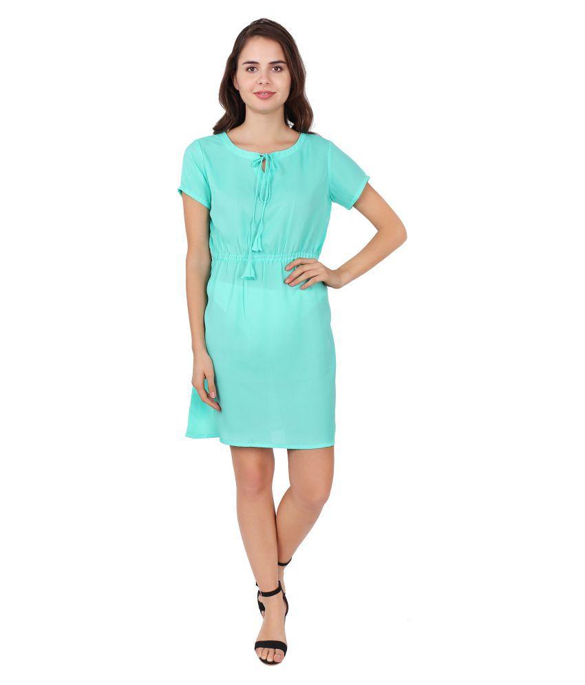 SBO FASHION Crepe Turquoise Wrap Dress
