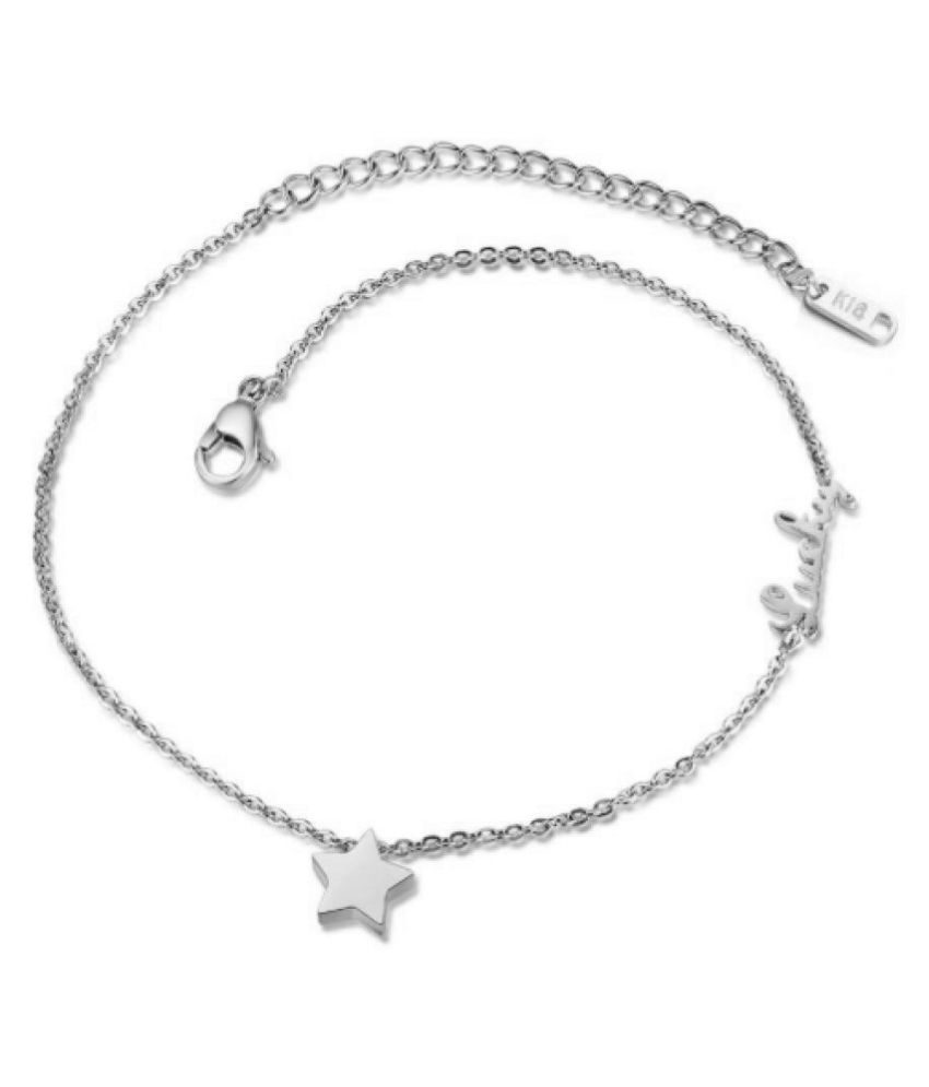 GirlZ! Silver Titanium Steel Chain Star Plus Lucky Women Barefoot Sandals Anklet