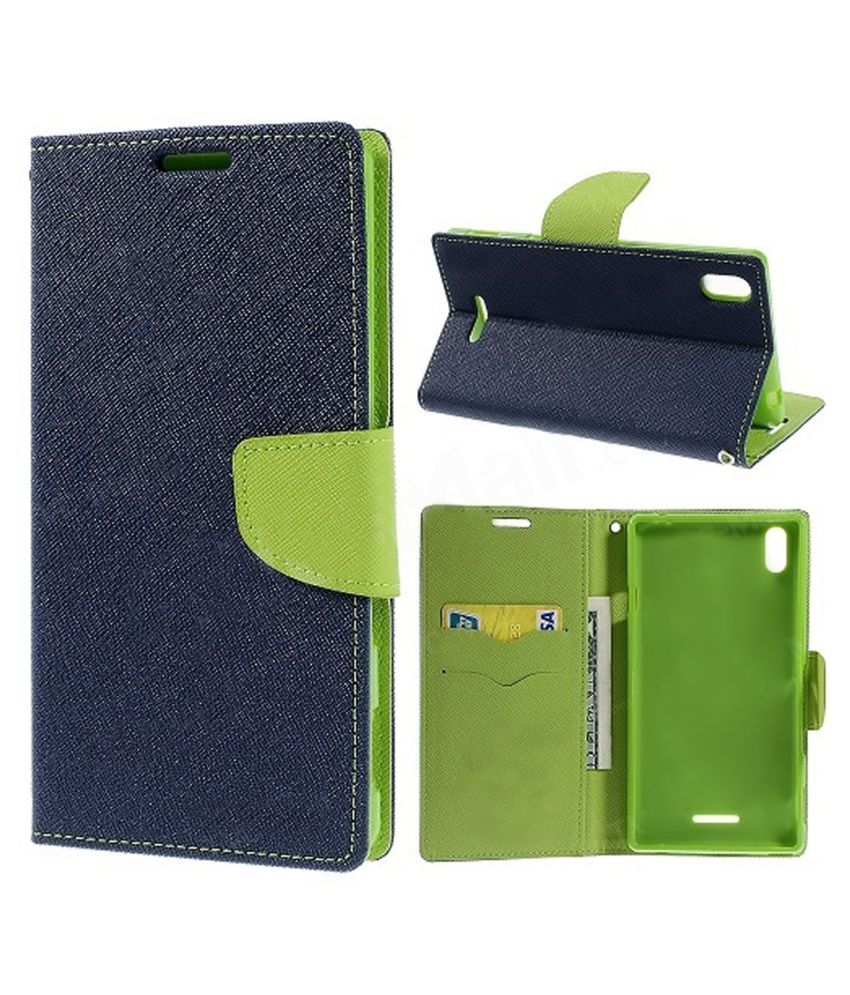 Sony Xperia T3 Flip Cover by ACM - Blue Mercury Flip Case