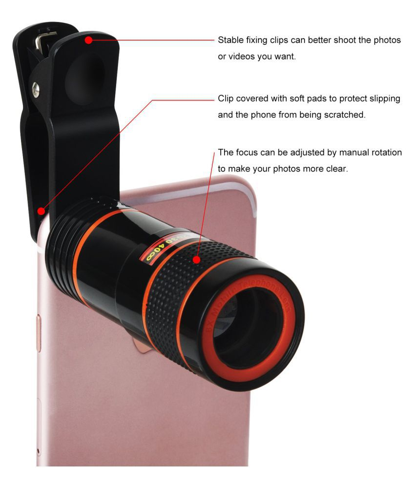 ASTOUND 8X Zoom Mobile Phone Telescope Clip Lens Phone Camera Lens,  Telescope 8X Camera Lens HD Optical Zoom Telescope Lens for Cell Phone  Optical
