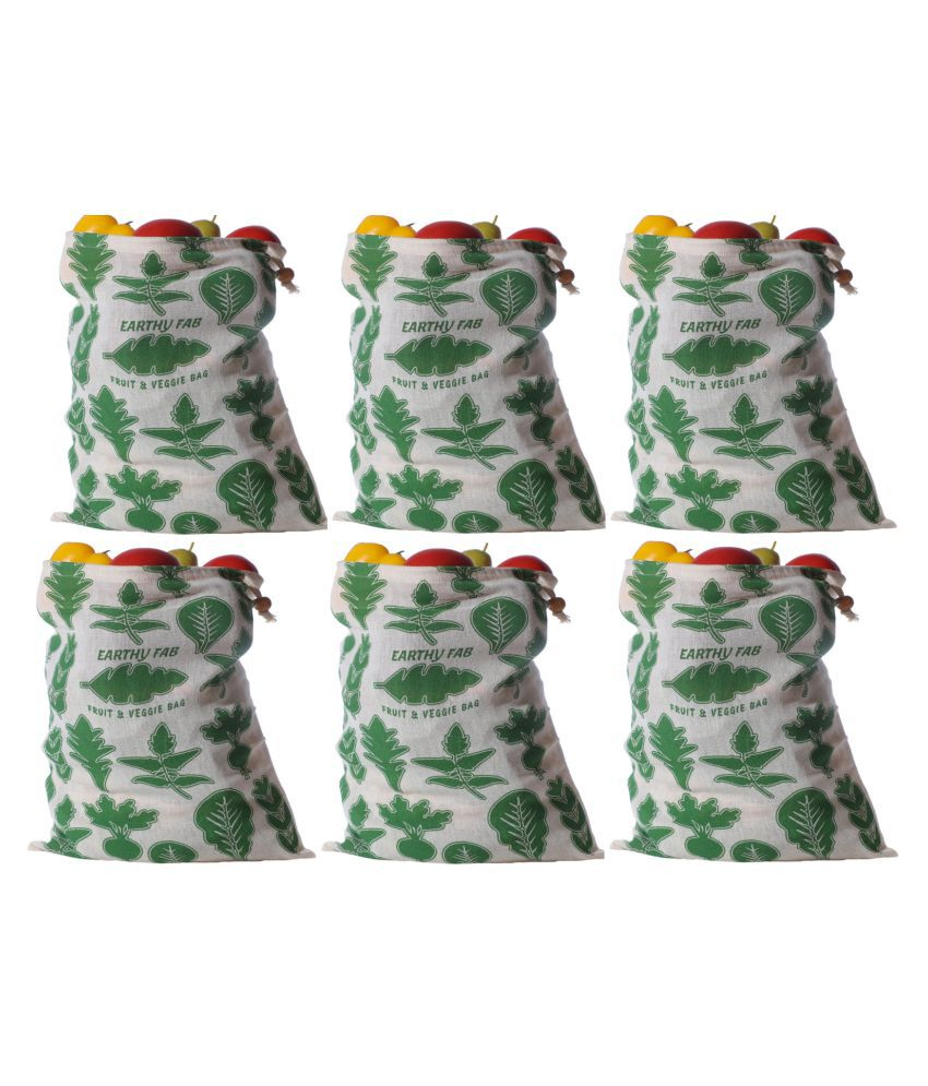 Earthy Fab Fruit and Vegetable Storage Bags for Fridge. Eco-Friendly, Multipurpose,100% Cotton. Set of 6