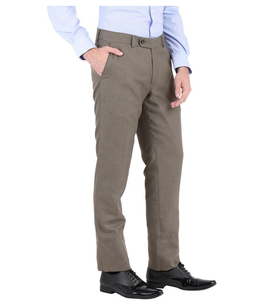 John Players Brown Slim -Fit Flat Trousers