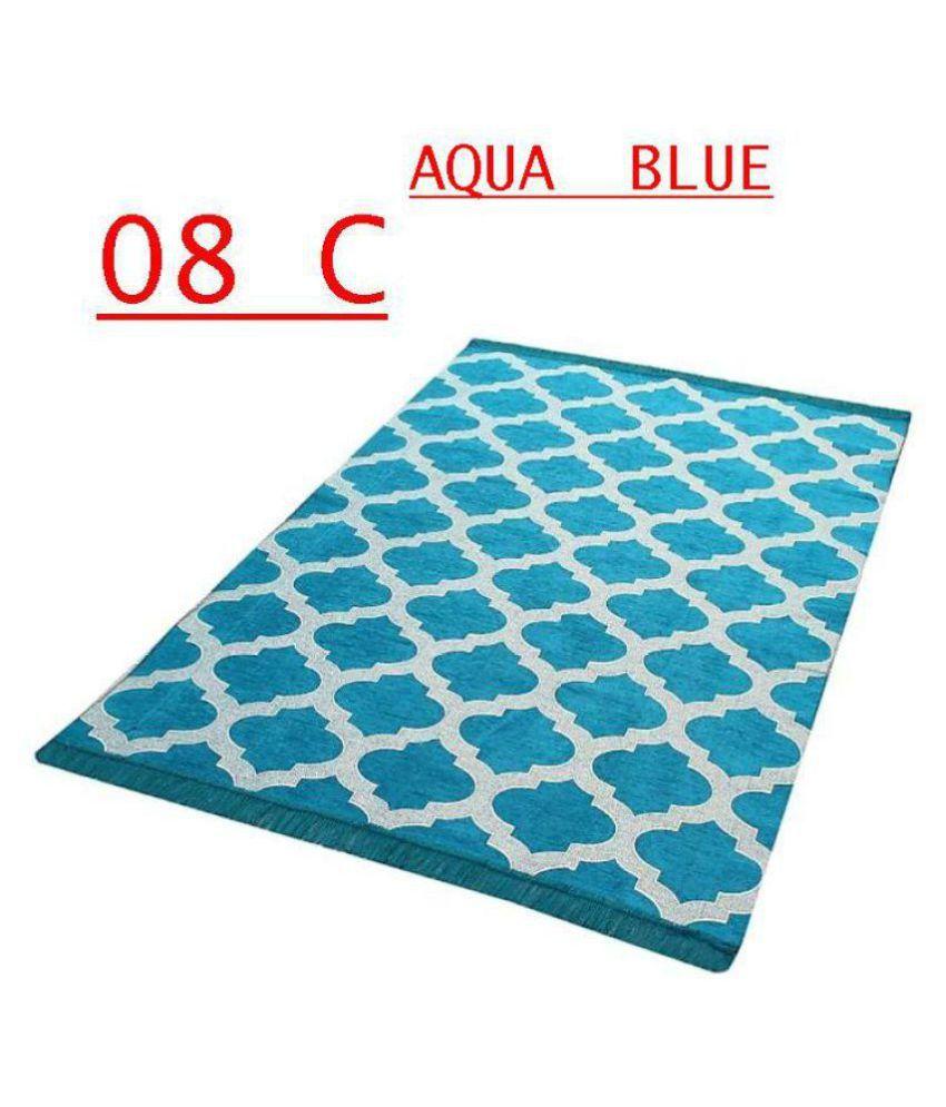 FARSH Aqua Chenille Carpet Geometrical 5x7 Ft