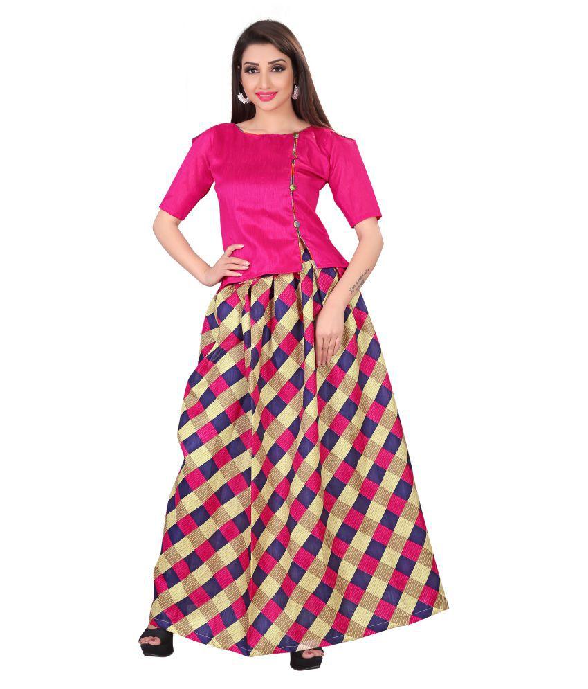Today Deal Multicoloured Bangalore Silk Circular Semi Stitched Lehenga