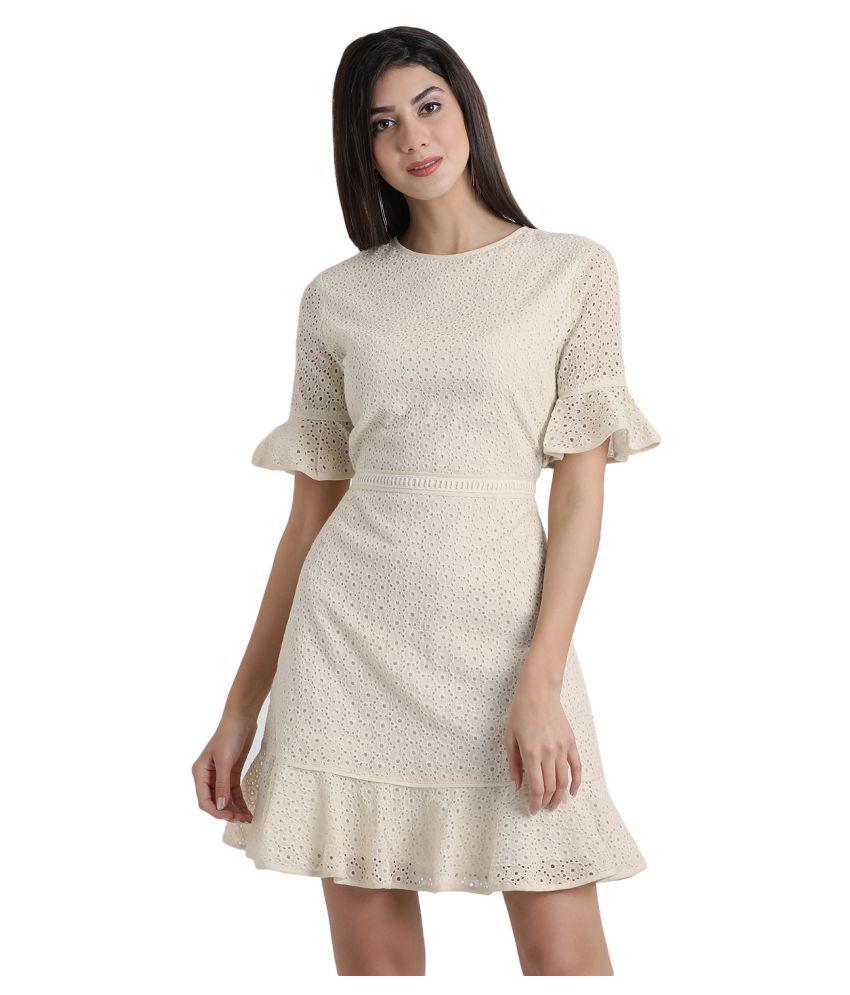 Aayna Cotton Off White Regular Dress