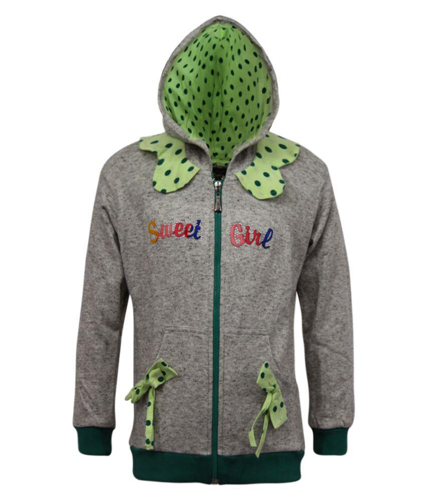 Kothari Girls Regular Fit Full Sleeve  Solid Hooded Fleece 60% and Cotton 40% Casual Sweatshirts