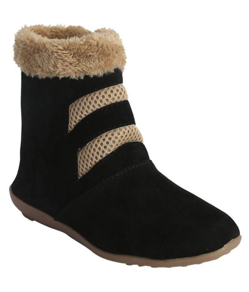 Zachho Black Ankle Length FUR Boots