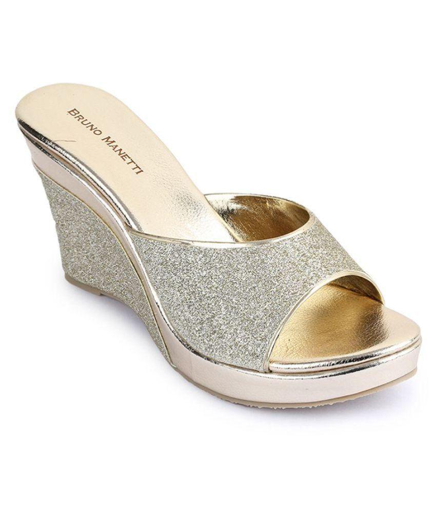 Bruno Manetti Gold Wedges Heels