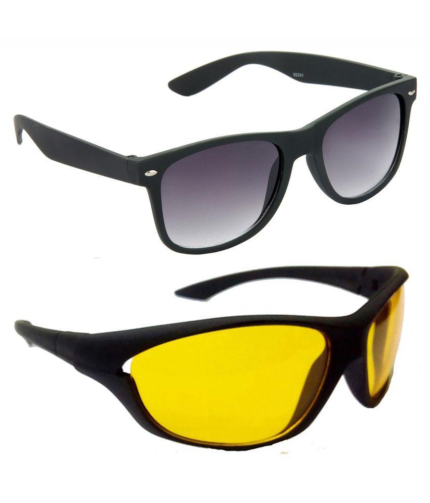 Hrinkar Golden & Silver Frame Brown & Blue Lense Pilot Sunglasses Combo Pack Of 2 - S-HCMB1256