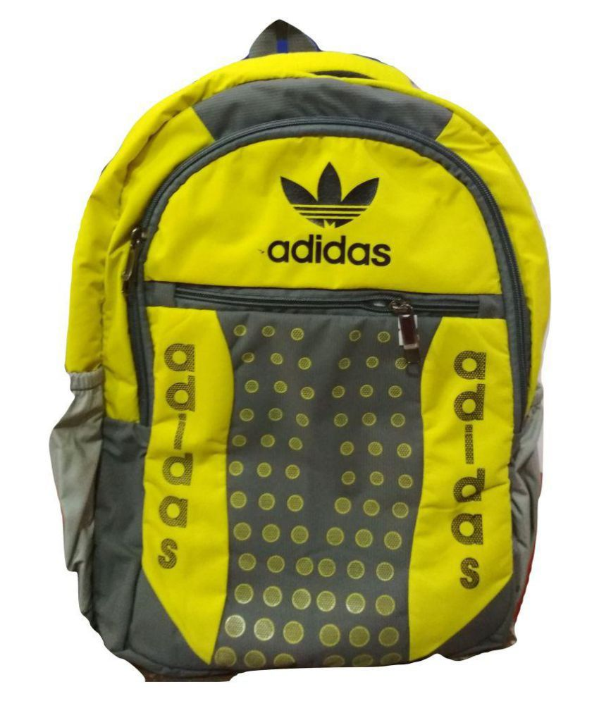 Adidas Yellow Polyester College Bag