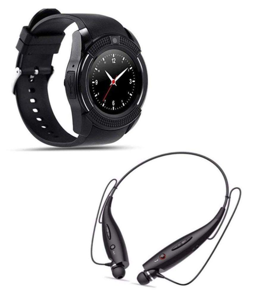 RIVOXX V8 Bluetooth Smart Watch+HBS-730 Neckband Headset Smart Watches