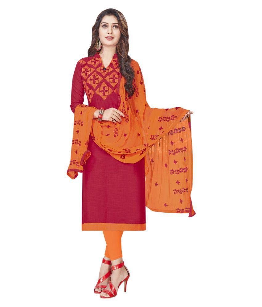 SAINOOR Red Cotton Blend Dress Material