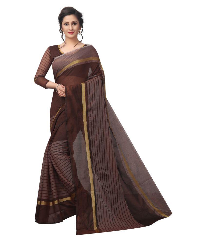 Nisha Creation Brown Cotton Blend Saree