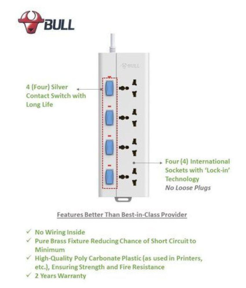 buy bull 4 socket 4 switch 1 5 m wire extension board with circuit rh snapdeal com