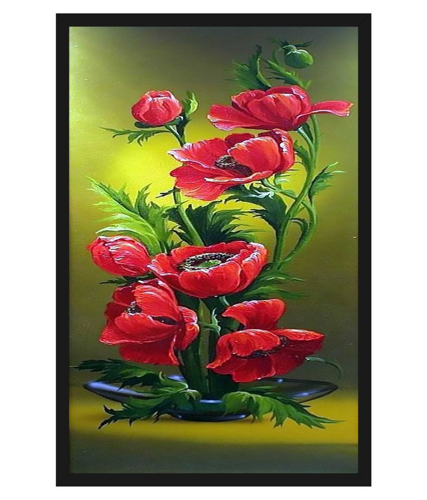 HK PRINTS Beautiful Flower Painting With Frame 14X20 Inch Wood Painting With Frame