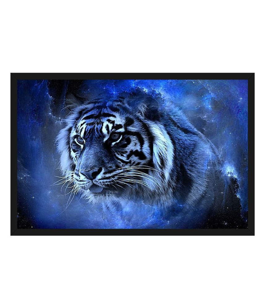 HK PRINTS Tiger Painting With Frame 14X20 Inch Wood Painting With Frame