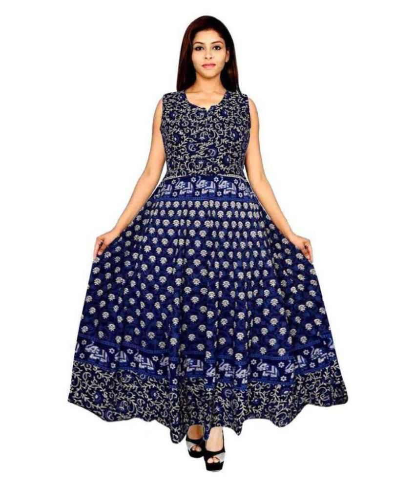 Kismat Collection Blue Cotton Dress Material