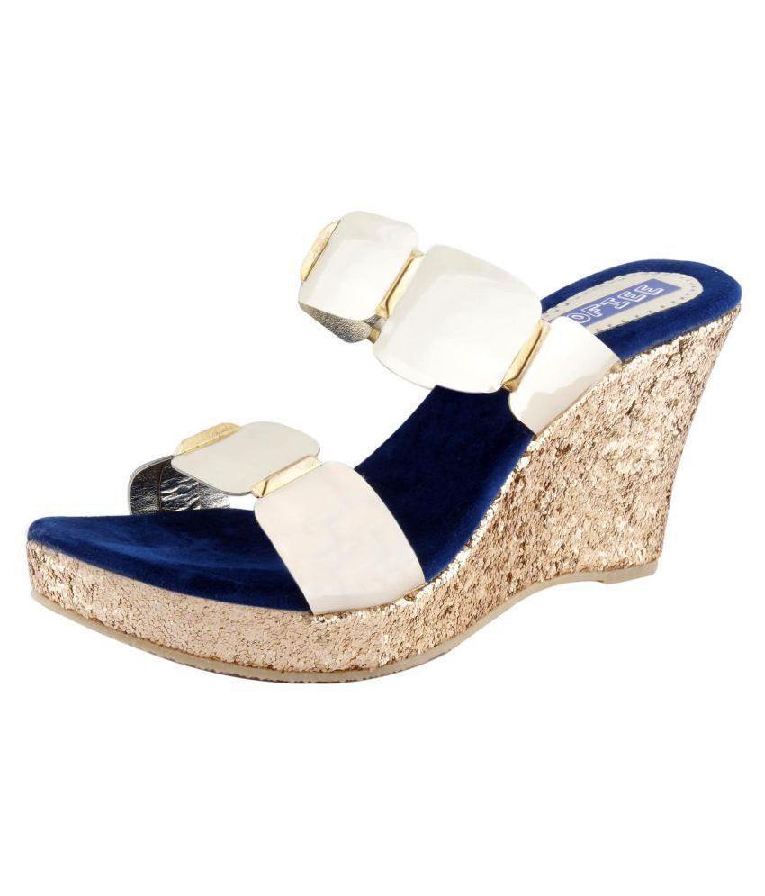 SHOFIEE Blue Wedges Heels