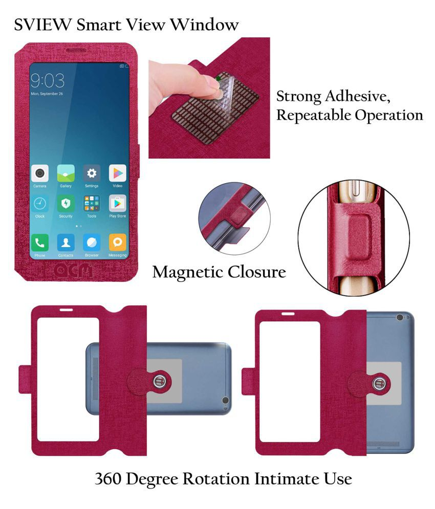8d582eb18 ... Xiaomi Redmi Note 6 Pro Flip Cover by ACM - Pink Dual Side Stand ...