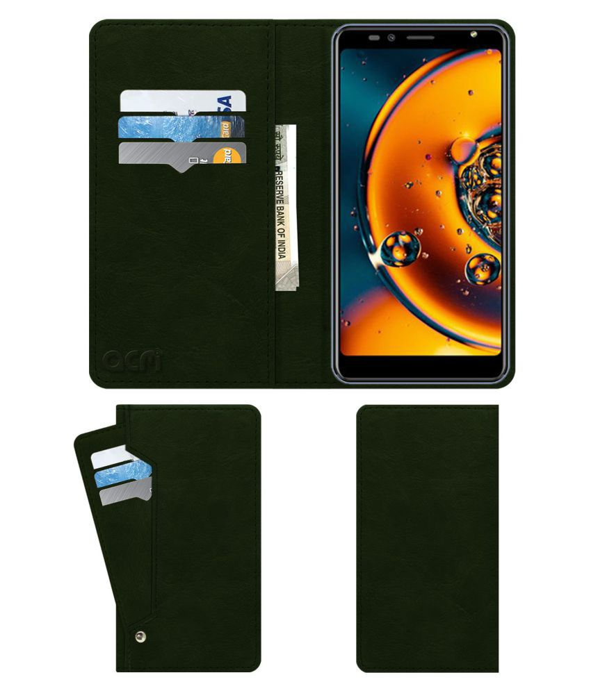 Karbonn Platinum P9 Pro Flip Cover by ACM - Green Wallet Case,Can store 6 Card & Cash,Teal Green