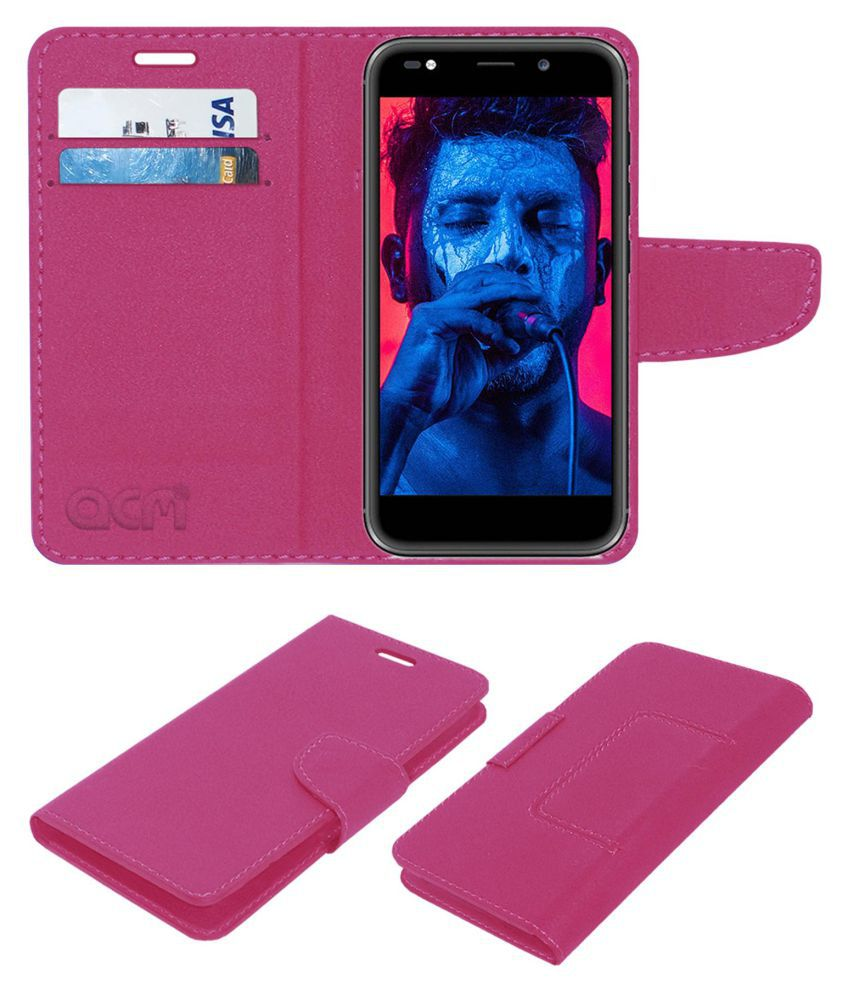 Micromax Selfie 3 E460 Flip Cover by ACM - Pink Wallet Case,Can store 2 Card/Cash