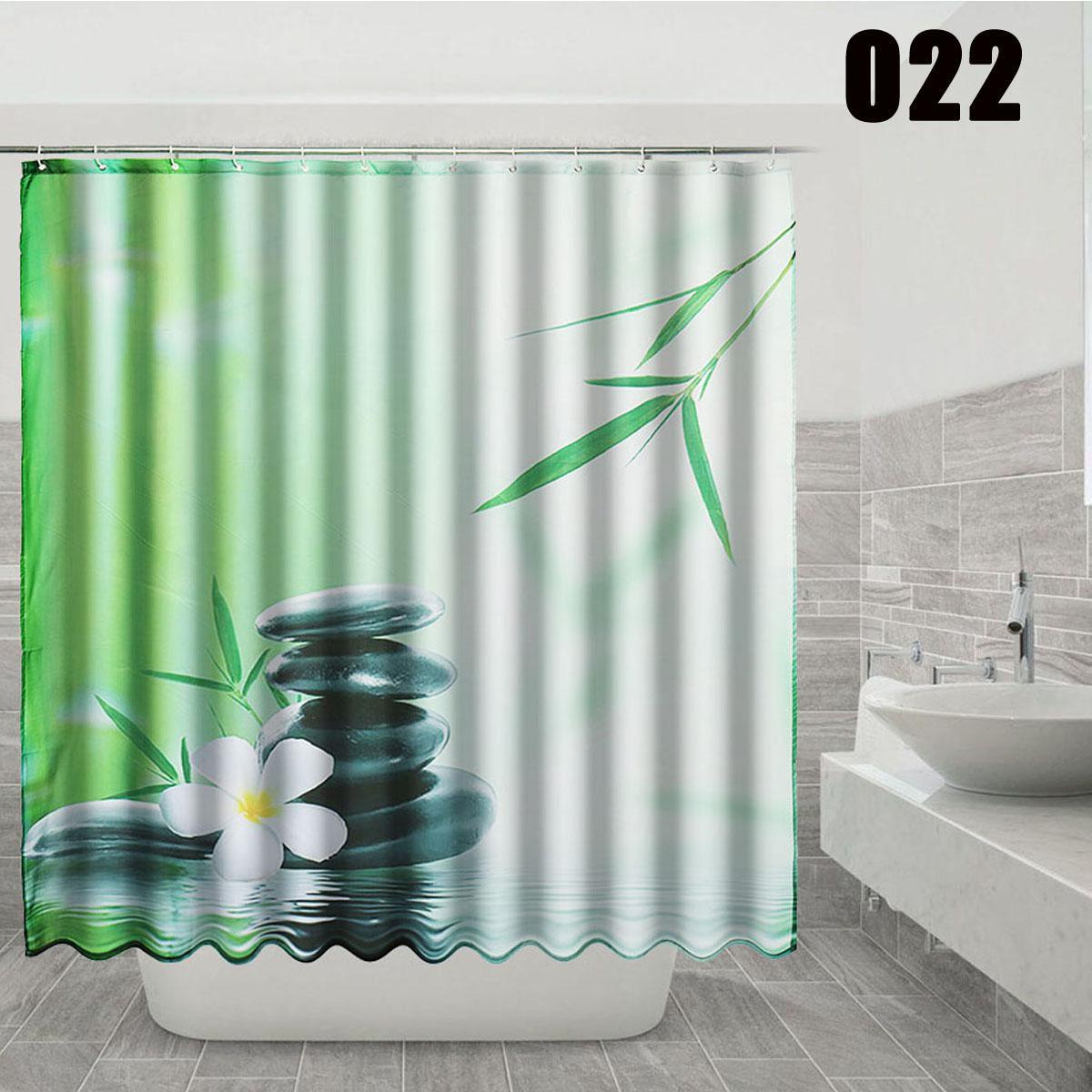 Buy Diy Bathroom Waterproof Shower Curtain 3d 12 Hook Green