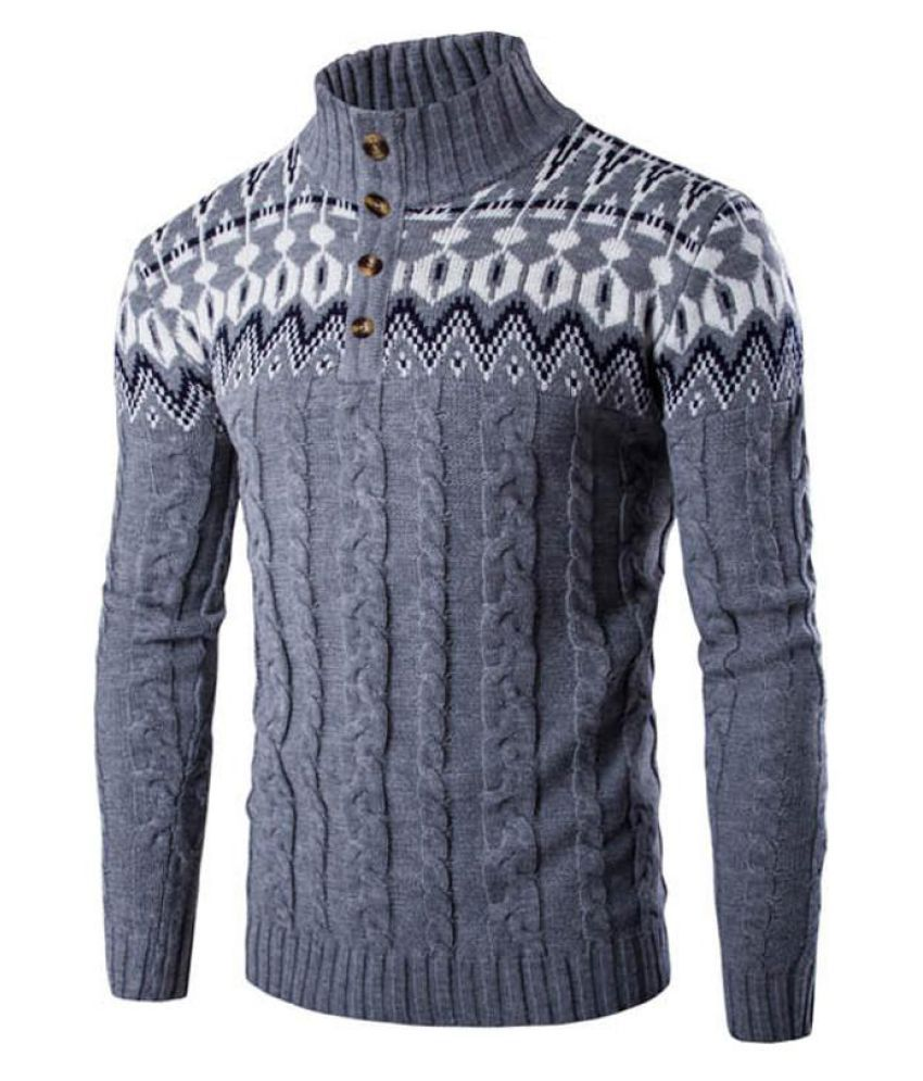 Men Long Sleeve Knitted Knitwear Sweater Turtle Neck Pullover Shirts Cardigan