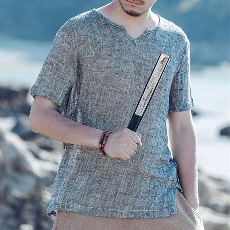 S-3XL Short Sleeve Retro V Neck Japanese Style Beach Casual Tee Top Shirts