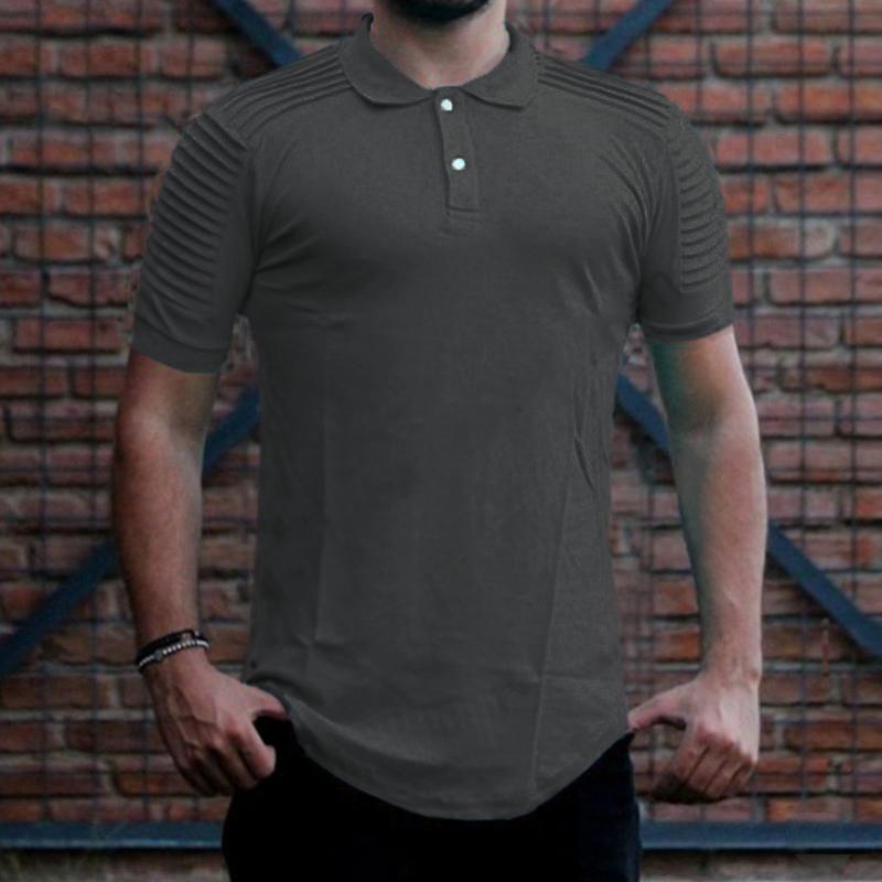 S-5XL Stylish Men Summer Short Sleeve Plain Lapel Neck Slim Fit Top Tee Shirt