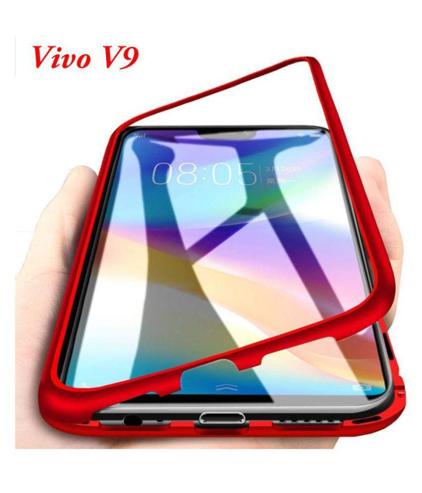best service de66d 8378f Vivo V9 Magnetic Cover Case JMA - Red Original Metal Auto-Fit Magnetic  Glass Case