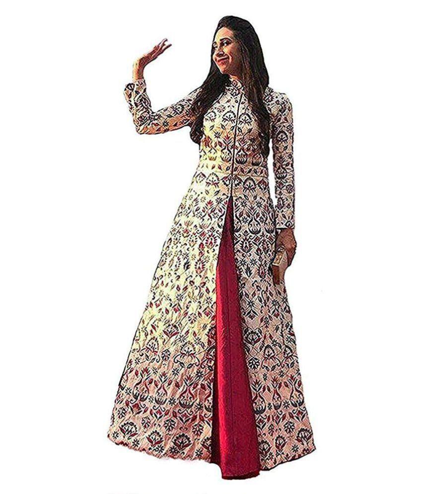 DHARMEE Multicoloured Silk A-line Semi Stitched Lehenga