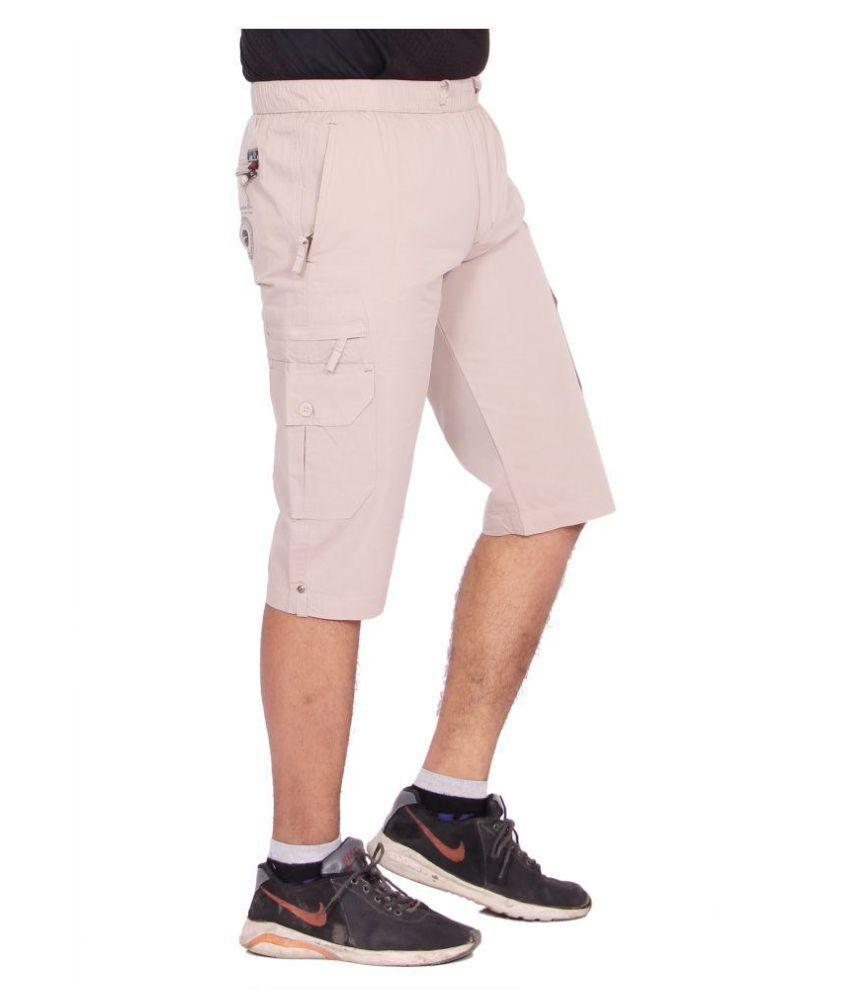 Kuber Industries Cotton Smart Polo Knee Length Capri for men  (OFF  White)