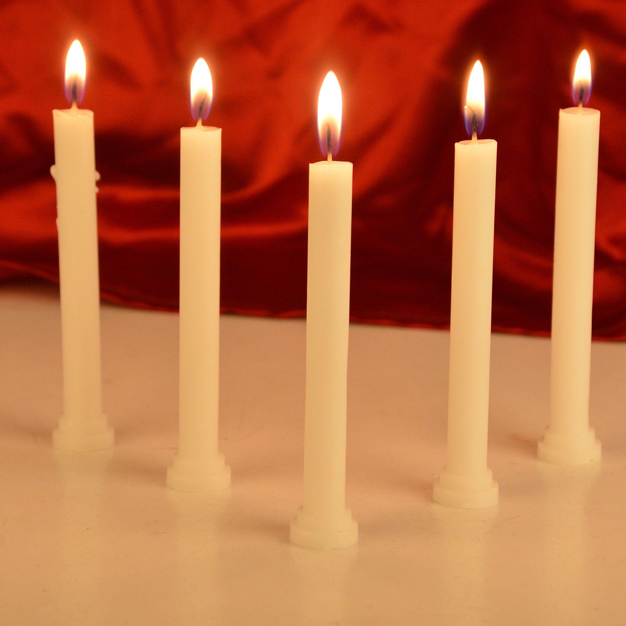 Rajrang White Pillar Candle - Pack of 10