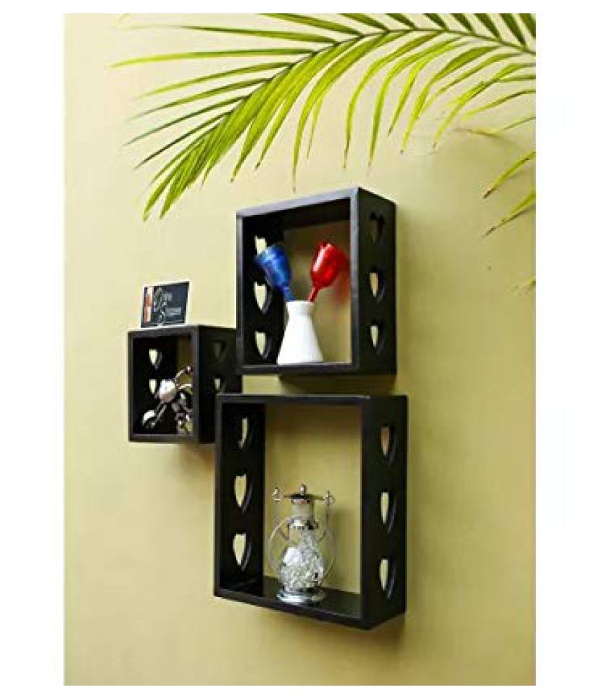 Onlineshoppee Floating Shelves Black MDF - Pack of 3