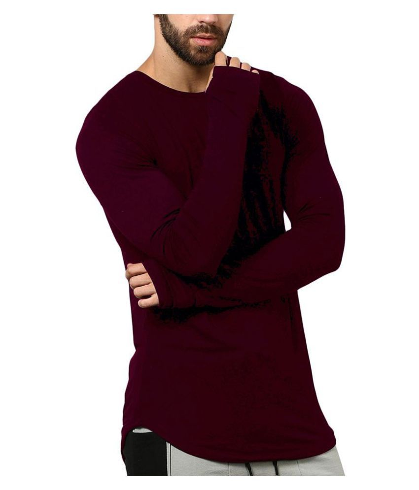 PAUSE Maroon Full Sleeve T-Shirt Pack of 1