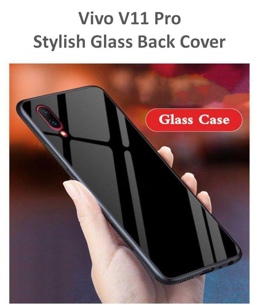 pretty nice da90b 6debe Vivo v11 Pro Glass Back Cover by Shopyholik - Black