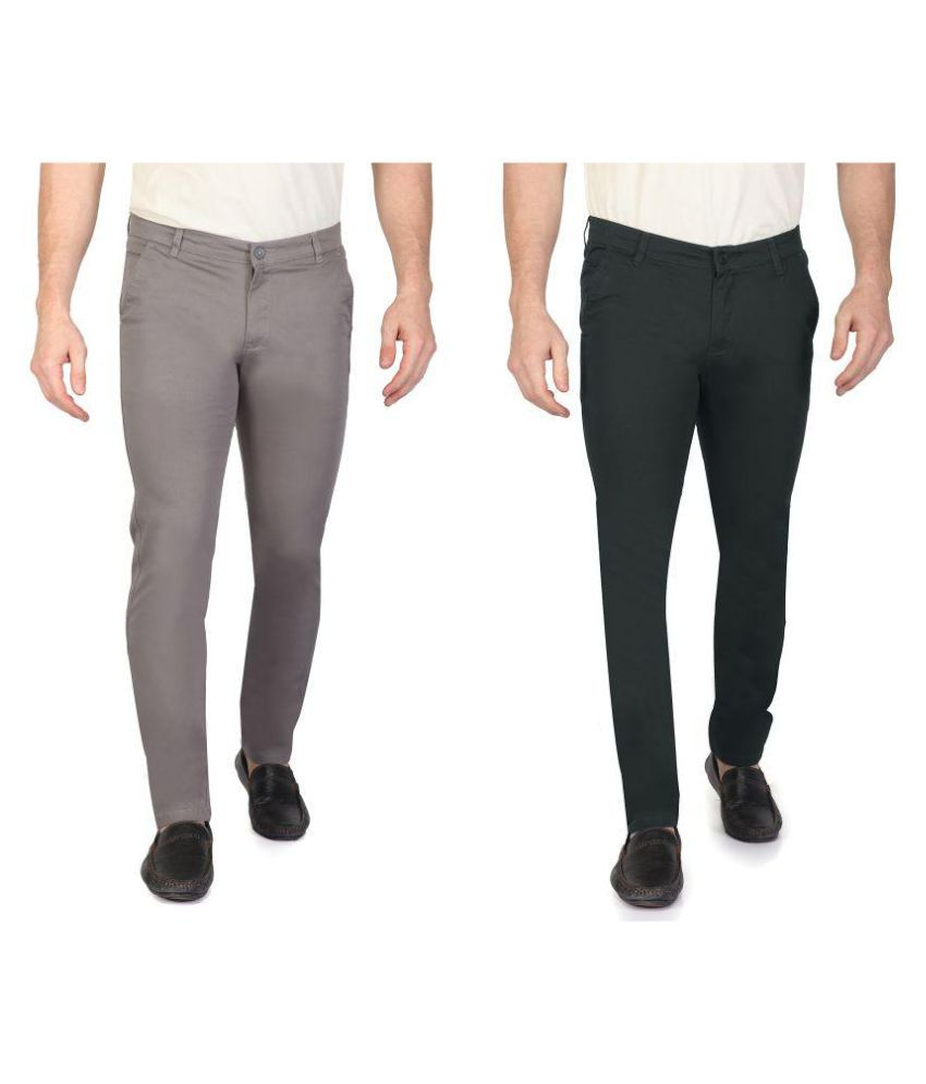 RAGZO Multicolored Slim -Fit Flat Chinos