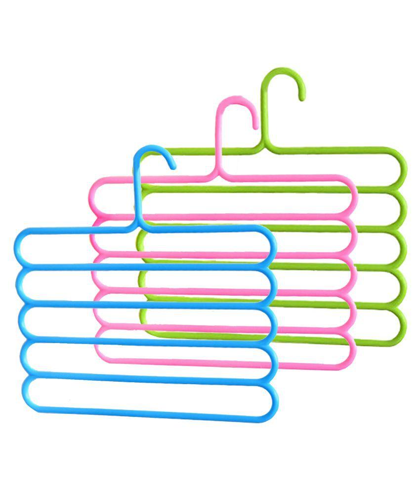 Kuber Industries Plastic 3 Pieces Multi-purpose Hangers for Wardrobe (Multi)