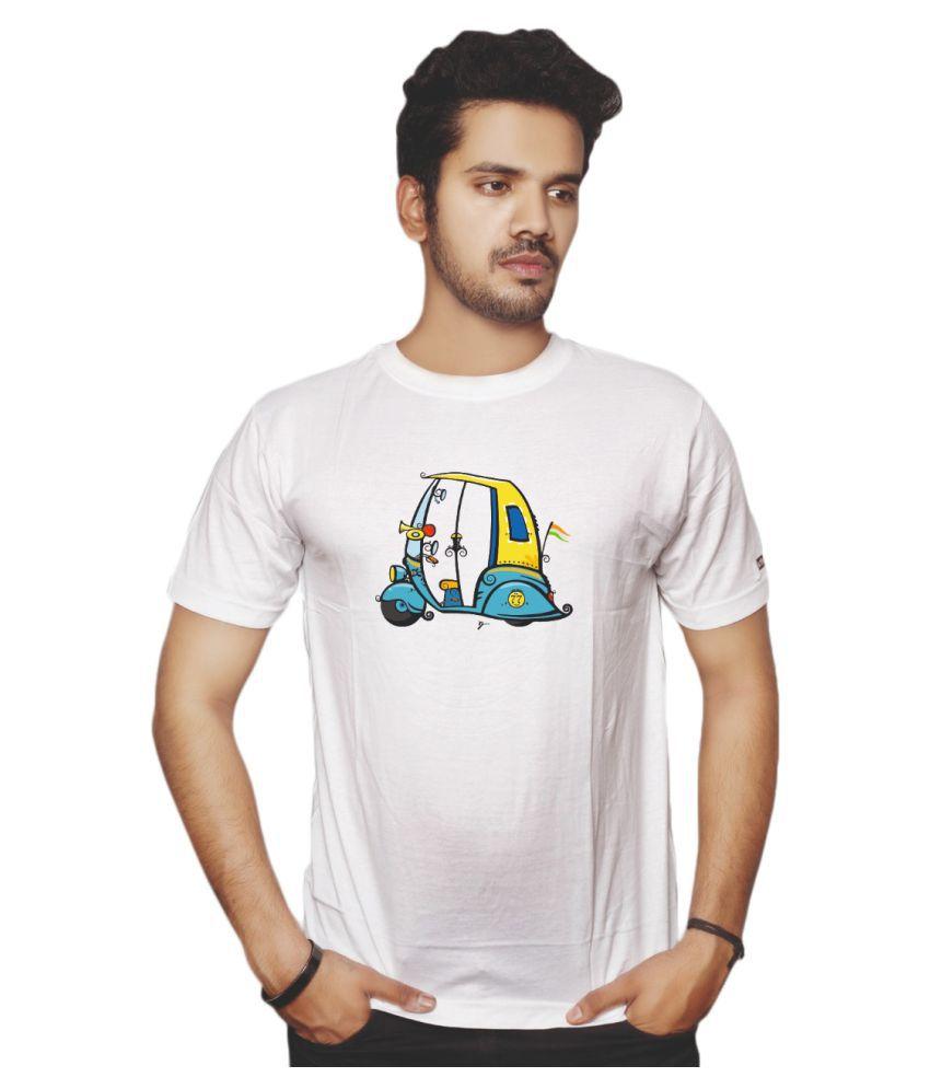 Rafu White Half Sleeve T-Shirt