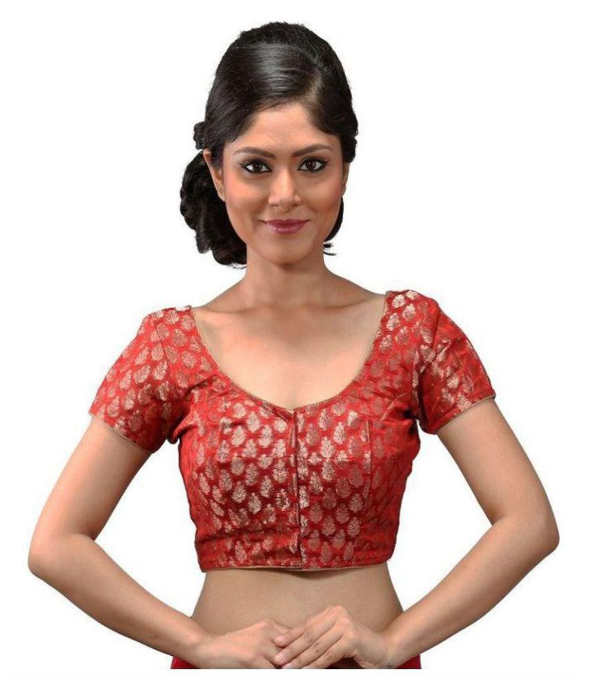 Intrigue Red Brocade Readymade with Pad Blouse